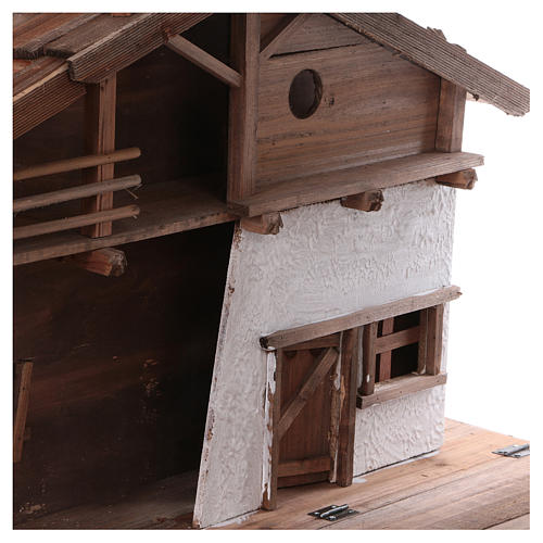 STOCK Brown nativity stable, in wood for 40-50 cm nativity 2