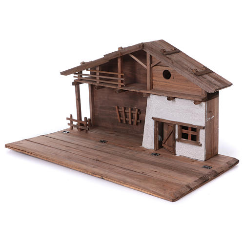 STOCK Brown nativity stable, in wood for 40-50 cm nativity 3