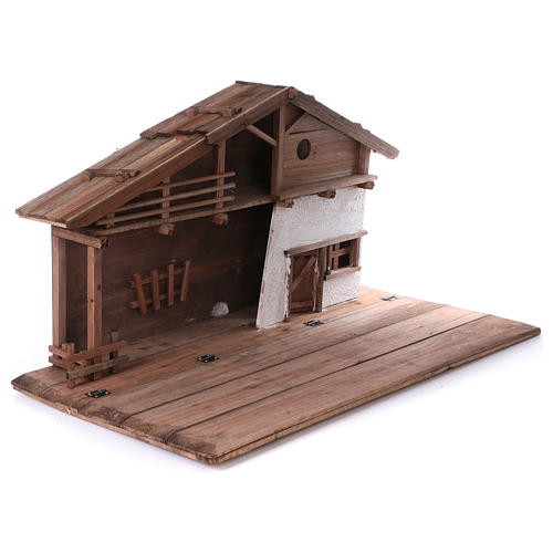 STOCK Brown nativity stable, in wood for 40-50 cm nativity 5