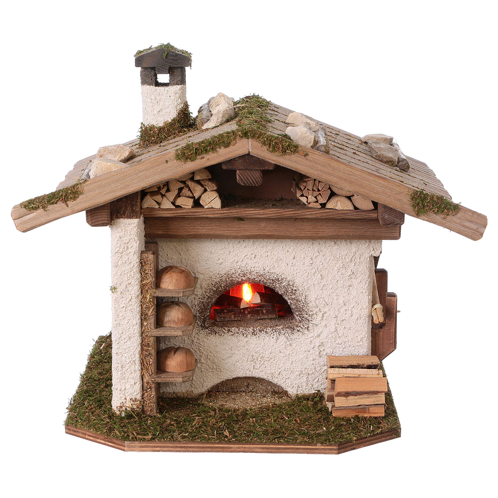 Alpine-style oven with 230V light 22x20x22 cm for 8-10cm Nativity Scene 4