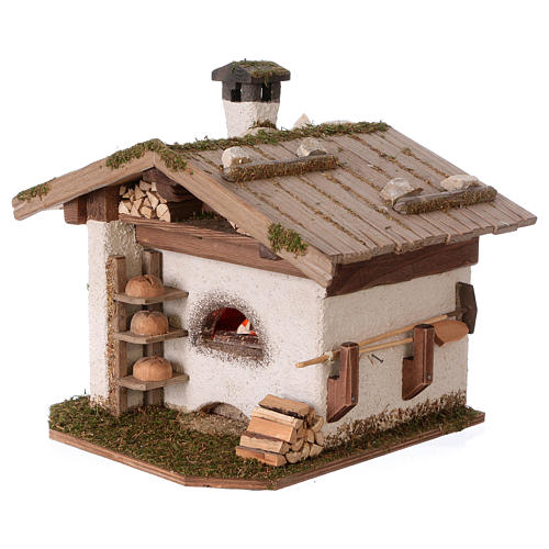 Alpine-style oven with 230V light 22x20x22 cm for 8-10cm Nativity Scene 3