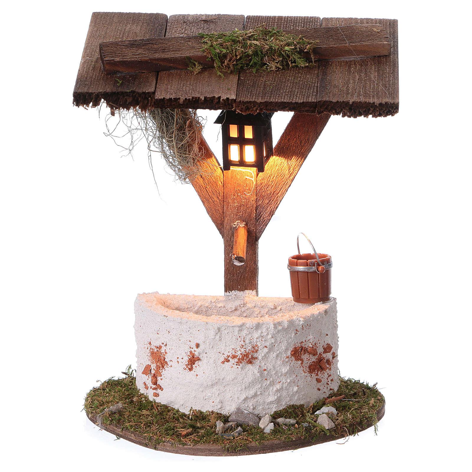 Fuente con linterna iluminación eléctrica 12x10x7 cm belén 7 cm 4