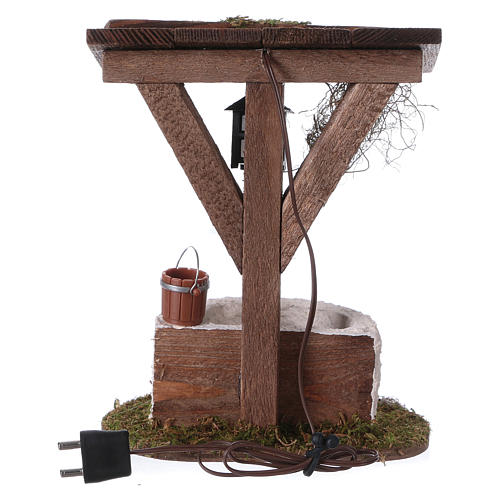 Fontana con lanterna ad illuminazione elettrica 12x10x7 cm presepe 7 cm 3