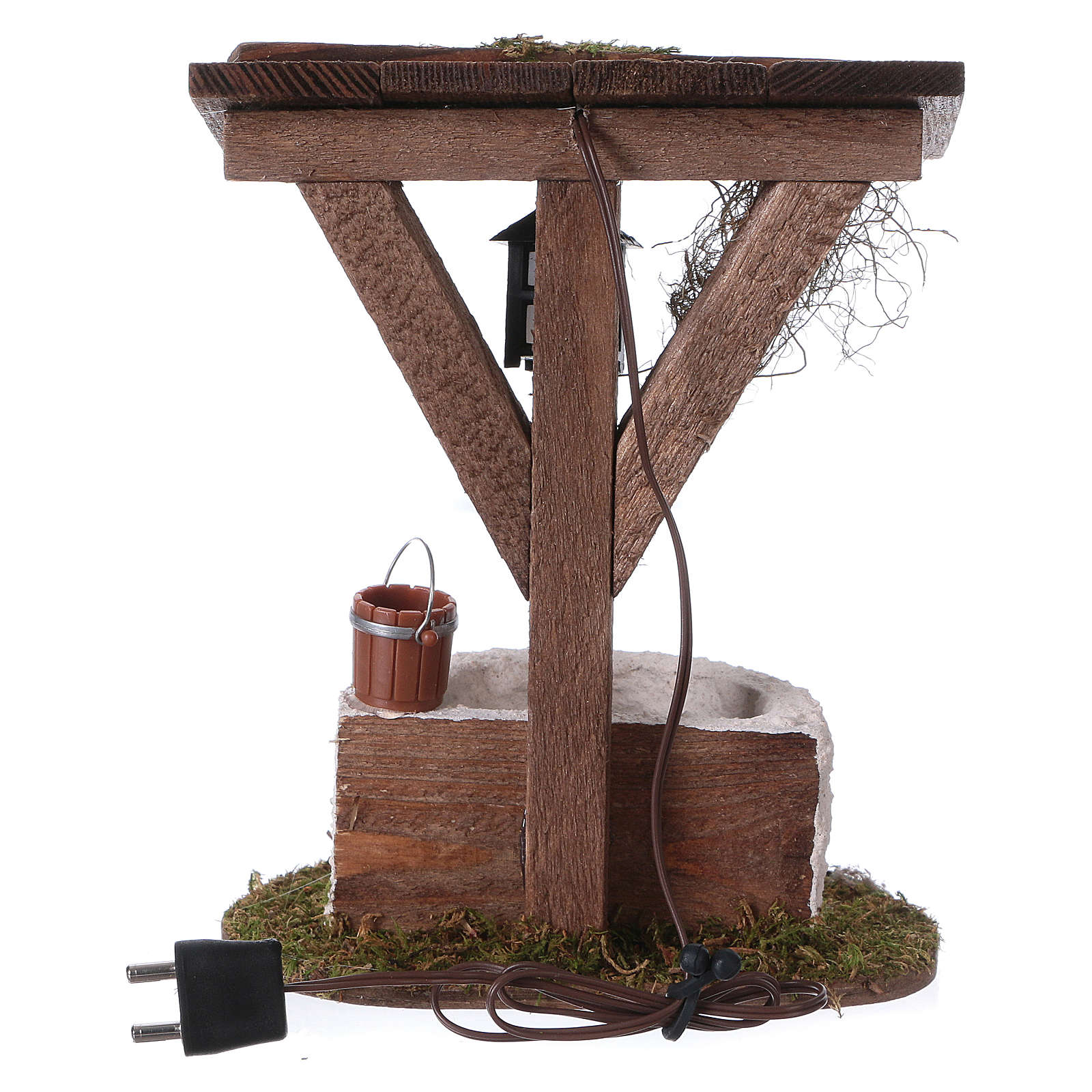 Fountain with lantern and electric lighting, 12x10x7 cm for 7 cm nativity 4
