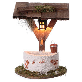 Fountain with lantern and electric lighting, 12x10x7 cm for 7 cm nativity s1