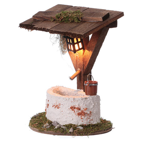 Fountain with lantern and electric lighting, 12x10x7 cm for 7 cm nativity 2