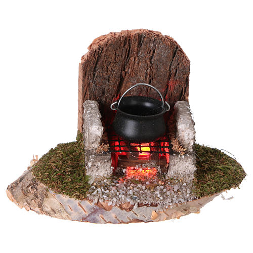 Pot on a fire with flickering light 6x8x6 cm for 8-10cm Nativity Scenes 1