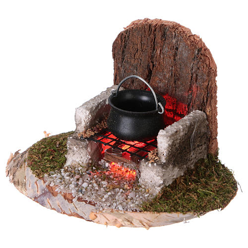 Pot on a fire with flickering light 6x8x6 cm for 8-10cm Nativity Scenes 2