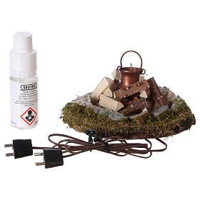 Feu de camp avec casserole éclairage générateur de fumée électrique crèche 8 cm s3
