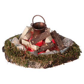 Campfire with pot light electric smoke generator, for 8 cm nativity s1