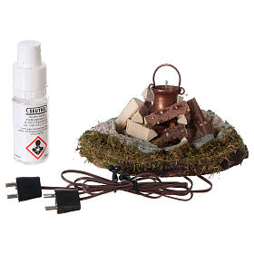 Campfire with pot light electric smoke generator, for 8 cm nativity s3