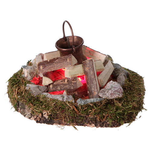 Campfire with pot light electric smoke generator, for 8 cm nativity 2