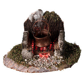 Fire with pot and smoke machine 6x8x6 for 8cm Nativity Scenes s1