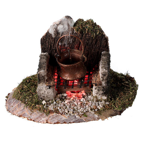 Fire with pot and smoke machine 6x8x6 for 8cm Nativity Scenes 1