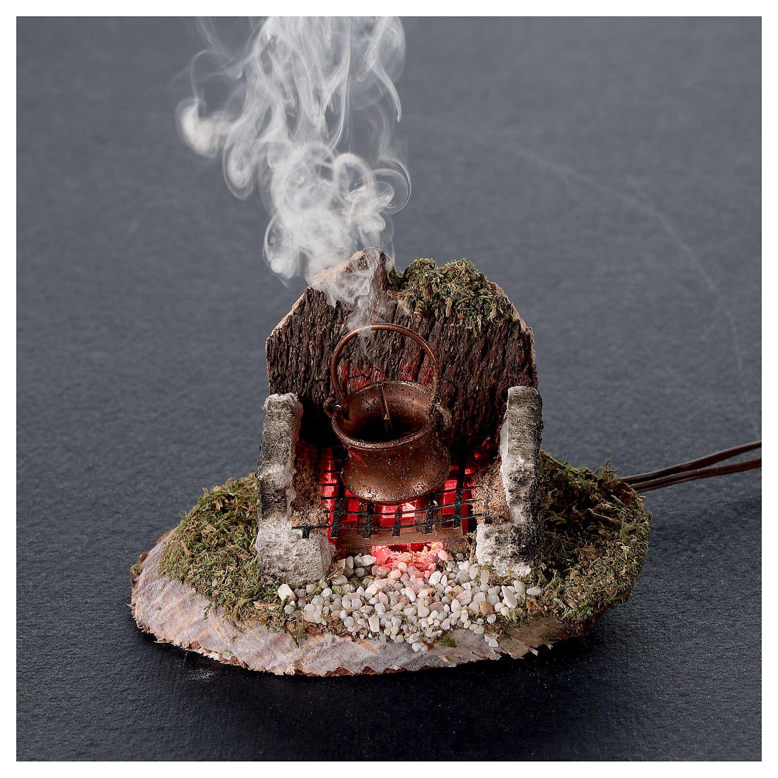 Pentola su fuoco con luce e generatore di fumo 6x8x6 cm per presepe 8 cm 4