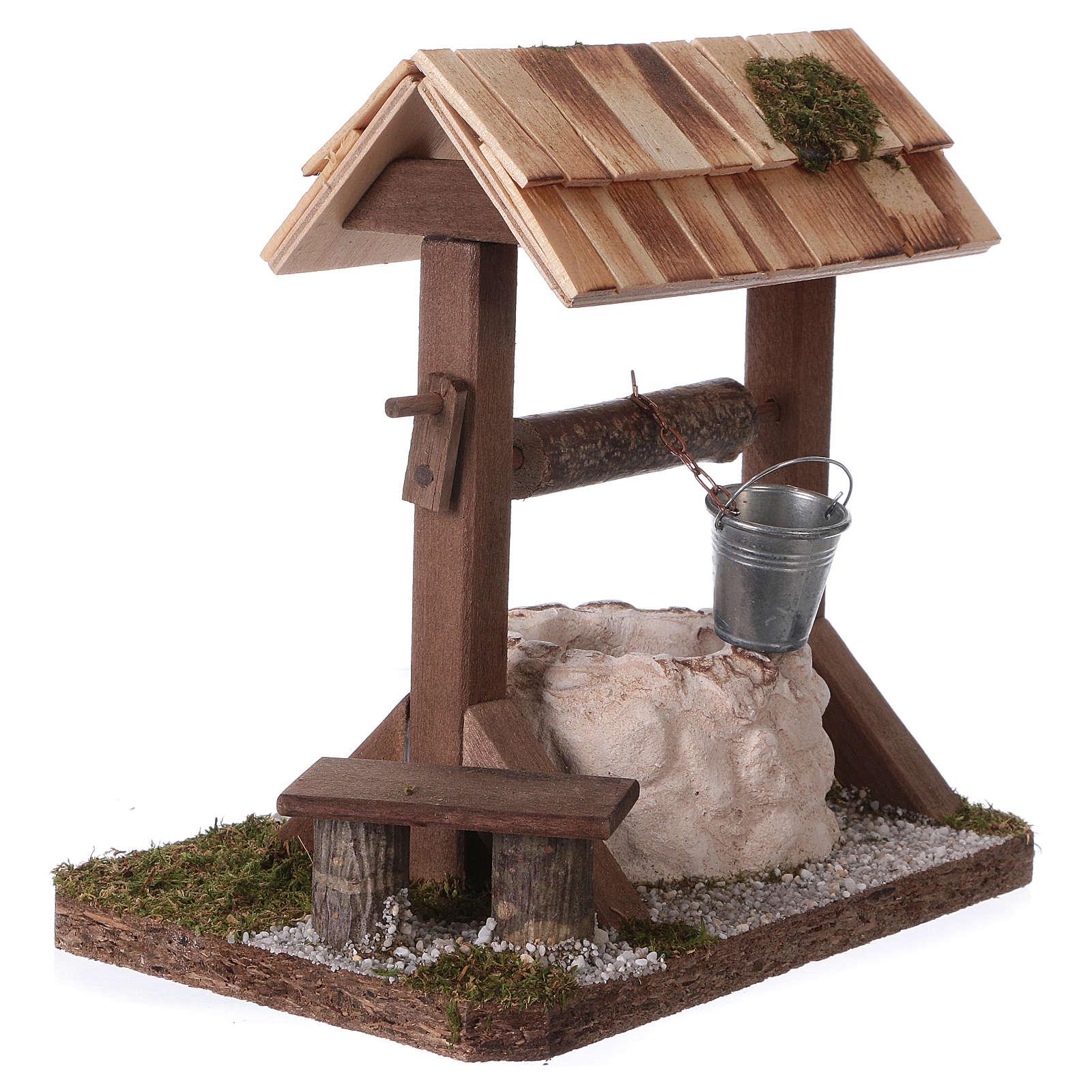 Pozzo con tetto in legno per presepe 12-15 cm 4