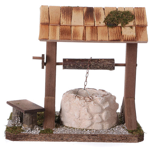 Pozzo con tetto in legno per presepe 12-15 cm 3