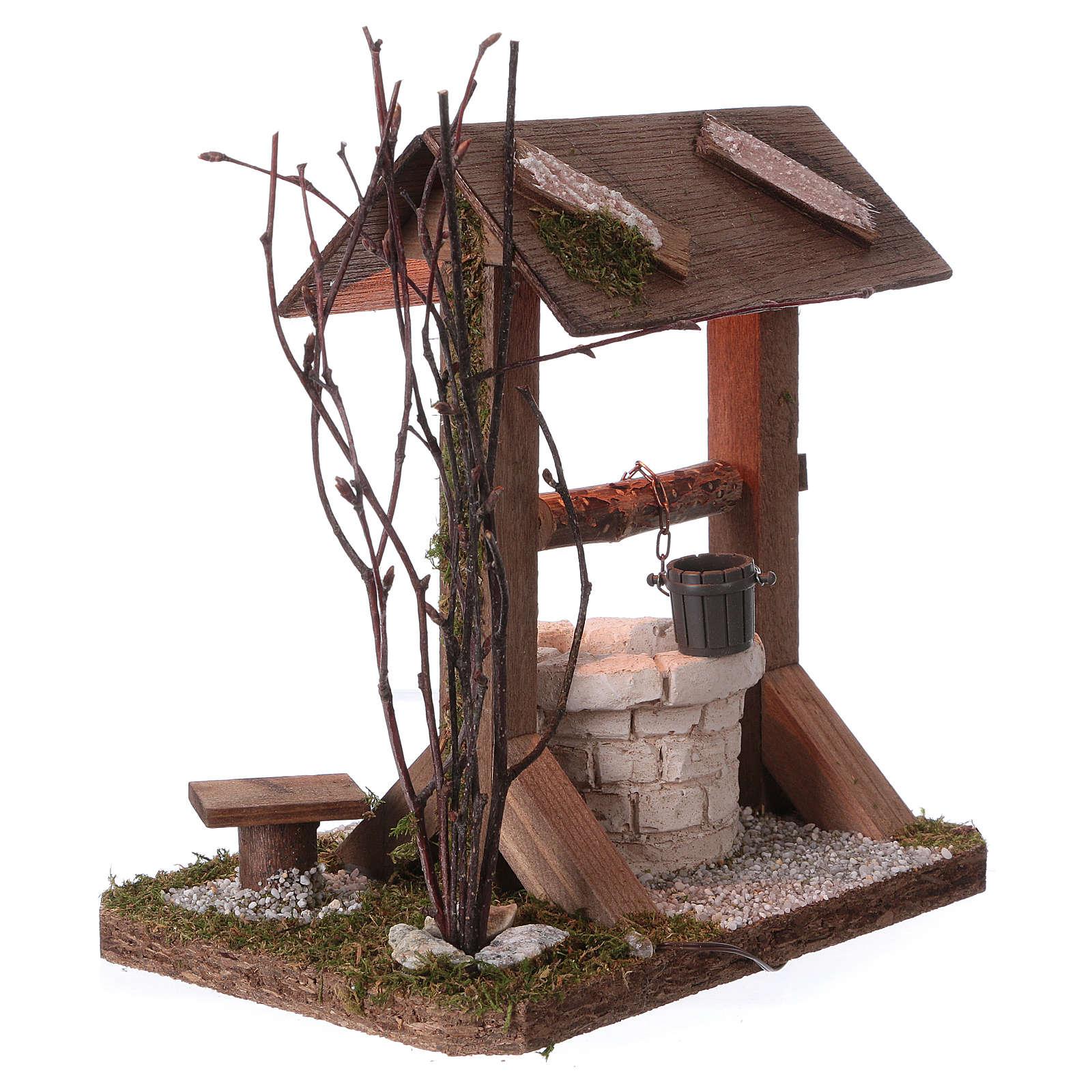 Pozzo tettoia in legno con luce e rami per presepe 12-15 cm 4