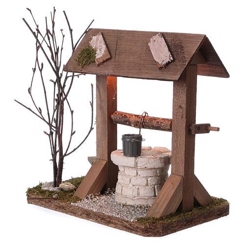 Pozzo tettoia in legno con luce e rami per presepe 12-15 cm 3