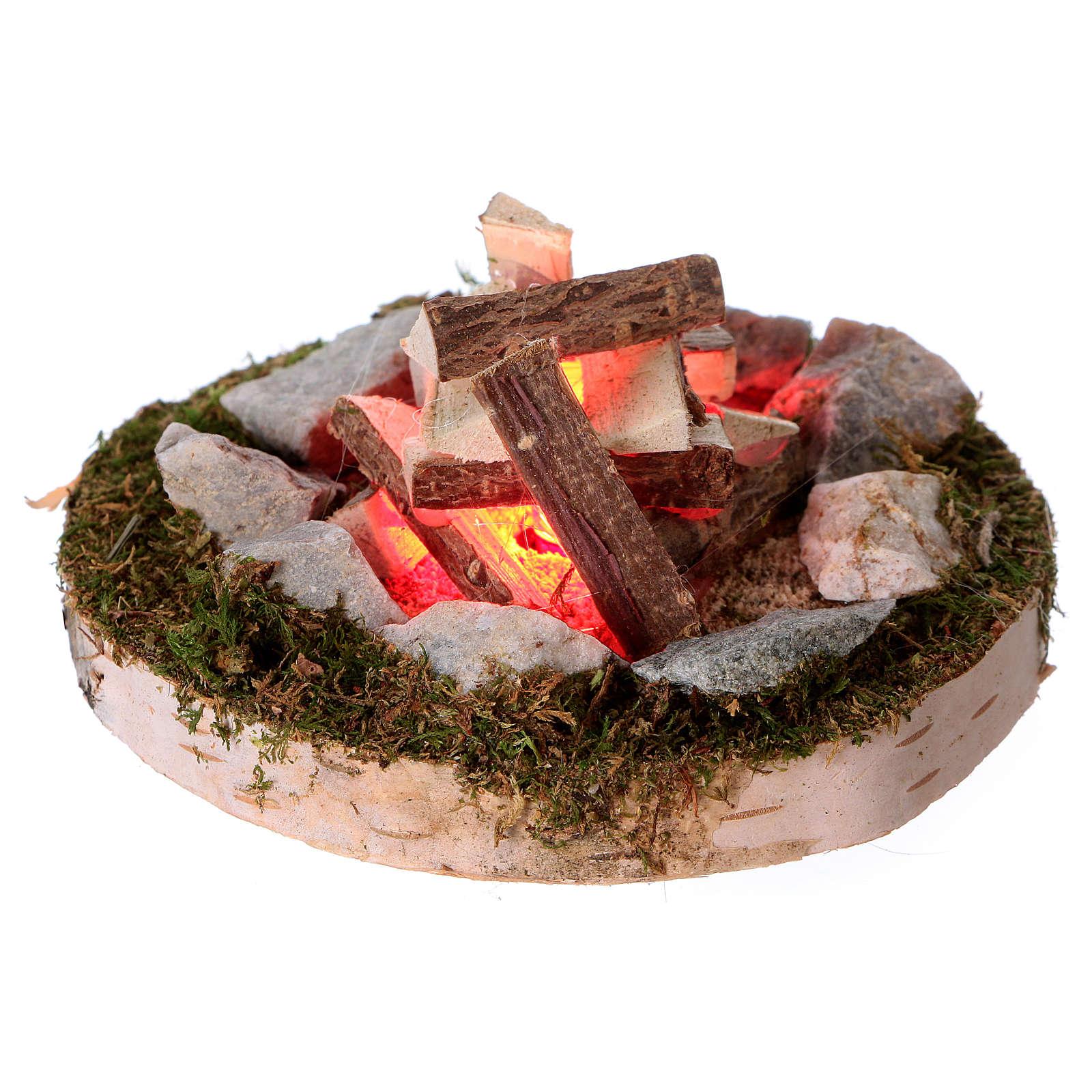 Feu de joie lumière effet feu éclairage 12V 4x6x6 cm pour crèches de 6-8 cm 4