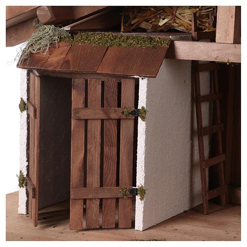 Capanna stile nordico mangiatoia stalla 43x80x40 presepi 20 cm 2