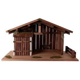 Cabanas e Grutas para Presépio: Cabana estilo nórdico manjedoura estábulo 43x80x40 cm para presépio com figuras de 20 cm de altura média