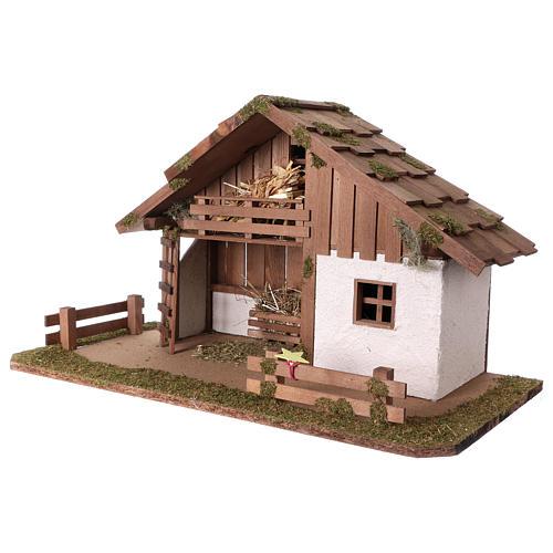 Nativity scene Nordic style shack 34x59x30 cm 3