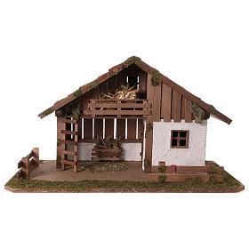 Cabanas e Grutas para Presépio: Cabana estilo nórdico com mezanino e quarto 34x59x30 cm para presépio com figuras de 13 cm de altura média