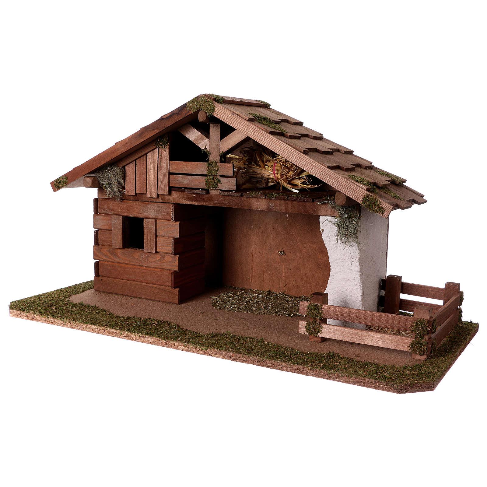 Capanna con stanza e recinto 33x62x30 cm presepe 13 cm 4
