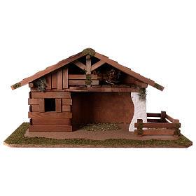 Cabanas e Grutas para Presépio: Cabana com quarto e cerca 33x62x30 cm para presépio com 13 cm de altura média