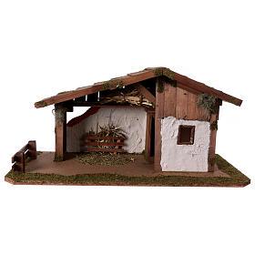 Cabanas e Grutas para Presépio: Cabana estilo escandinavo manjedoura estábulo 29x59x30 cm para presépio com fiugras de 13 cm de altura média