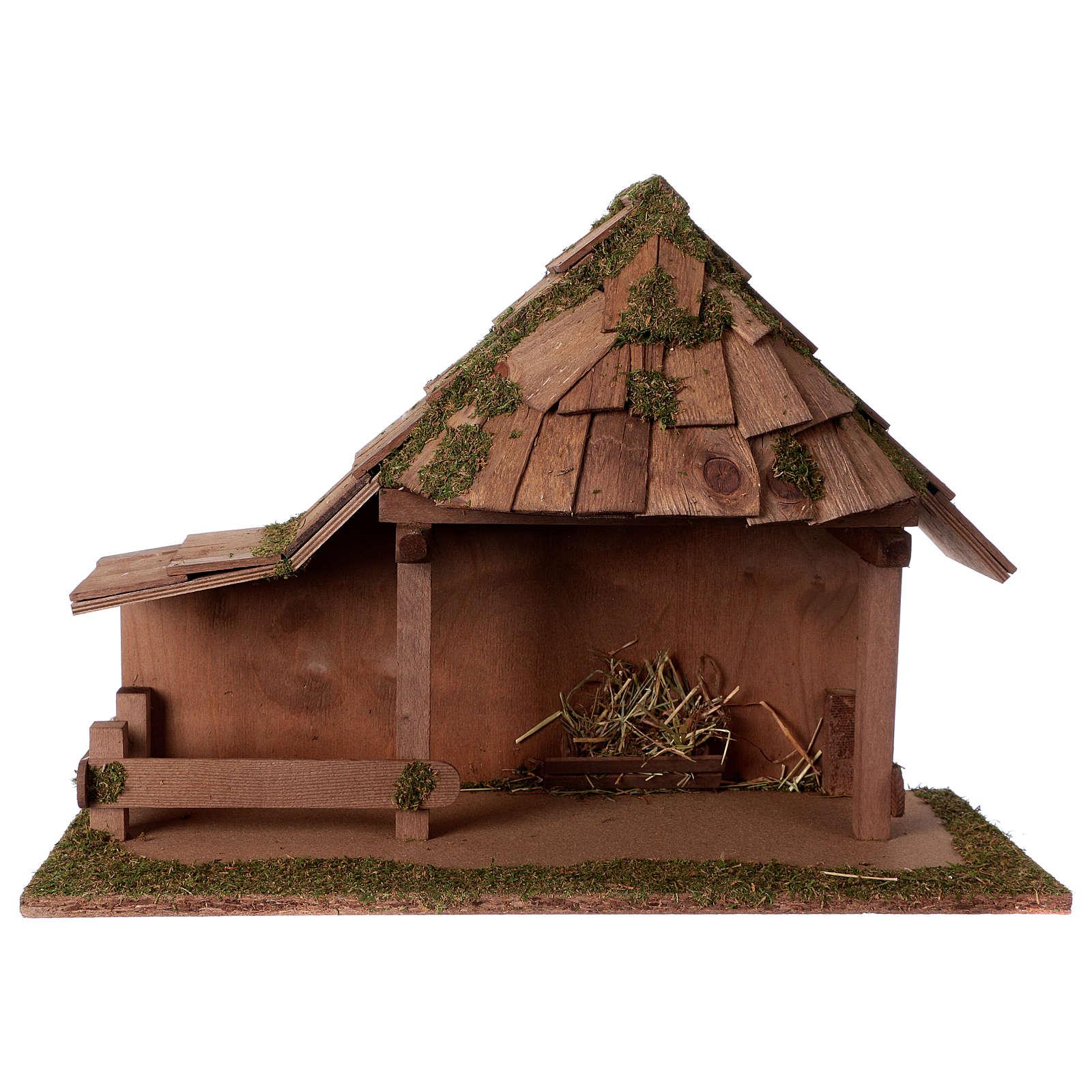 Capanna tetto conico con stalla 29x59x30 cm per presepi di 13 cm 4