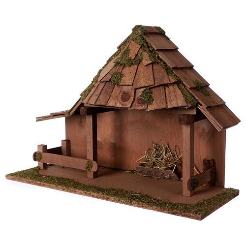 Capanna tetto conico con stalla 29x59x30 cm per presepi di 13 cm 2