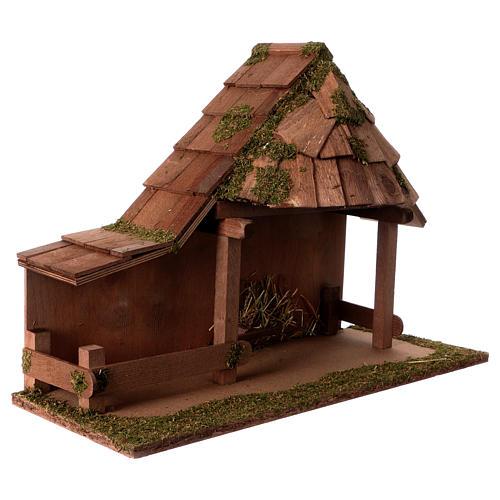 Capanna tetto conico con stalla 29x59x30 cm per presepi di 13 cm 3