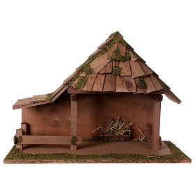 Cabanas e Grutas para Presépio: Cabana telhado cônico com estábulo 29x59x30 cm para presépio com figuras de 13 cm de altura média