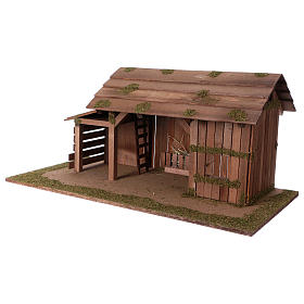 Wooden hut with stable 31x70x35 with 15cm Nativity Scenes s2