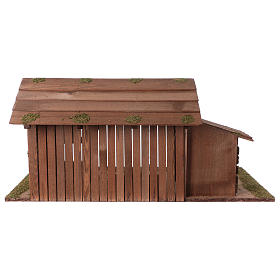 Wooden hut with stable 31x70x35 with 15cm Nativity Scenes s4