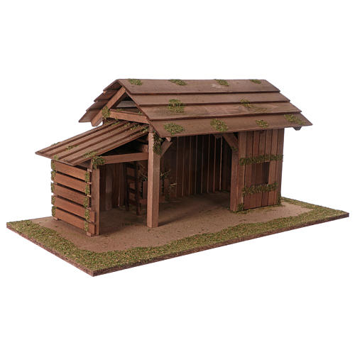 Wooden hut with stable 31x70x35 with 15cm Nativity Scenes 3