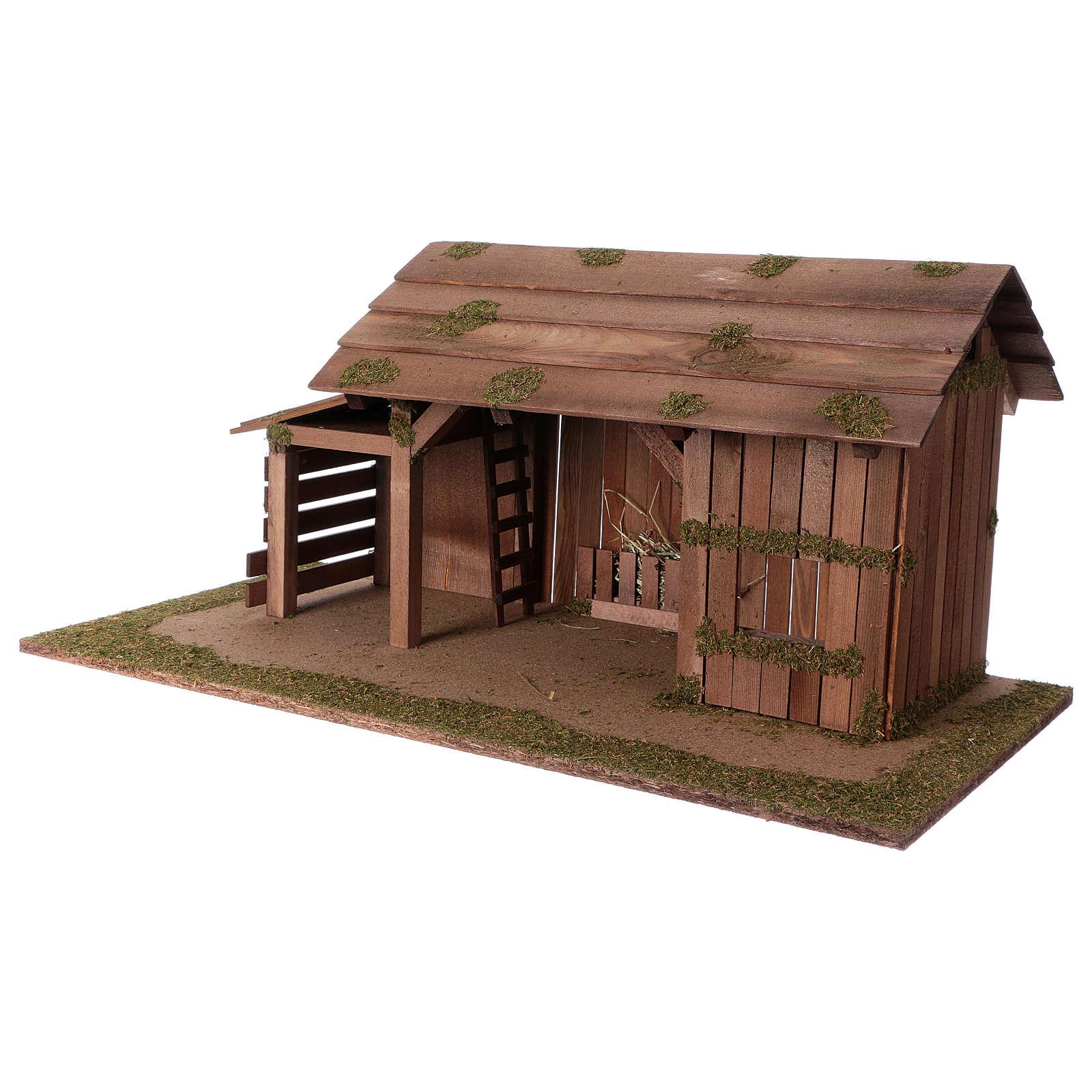 Cabaña de madera con establo 31x70x35 cm para belenes de 15 cm 4
