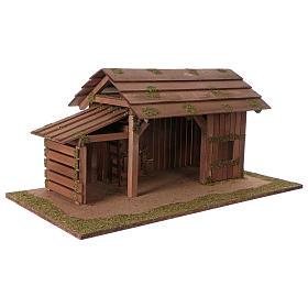 Cabaña de madera con establo 31x70x35 cm para belenes de 15 cm s3