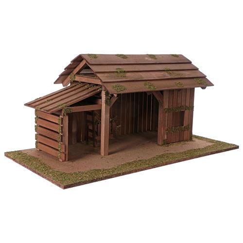 Cabaña de madera con establo 31x70x35 cm para belenes de 15 cm 3