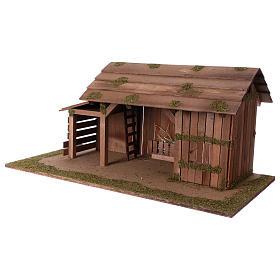 Cabane en bois avec étable 31x70x35 cm pour crèche de 15 cm s2