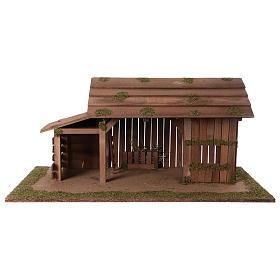 Cabanas e Grutas para Presépio: Cabana de madeira com estábulo 31x70x35 cm para presépio com figuras de 15 cm de altura média