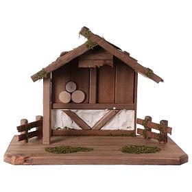 Cabanas e Grutas para Presépio: Cabana de montanha em madeira 28x40x20 cm para presépio com figuras de 12 cm de altura média