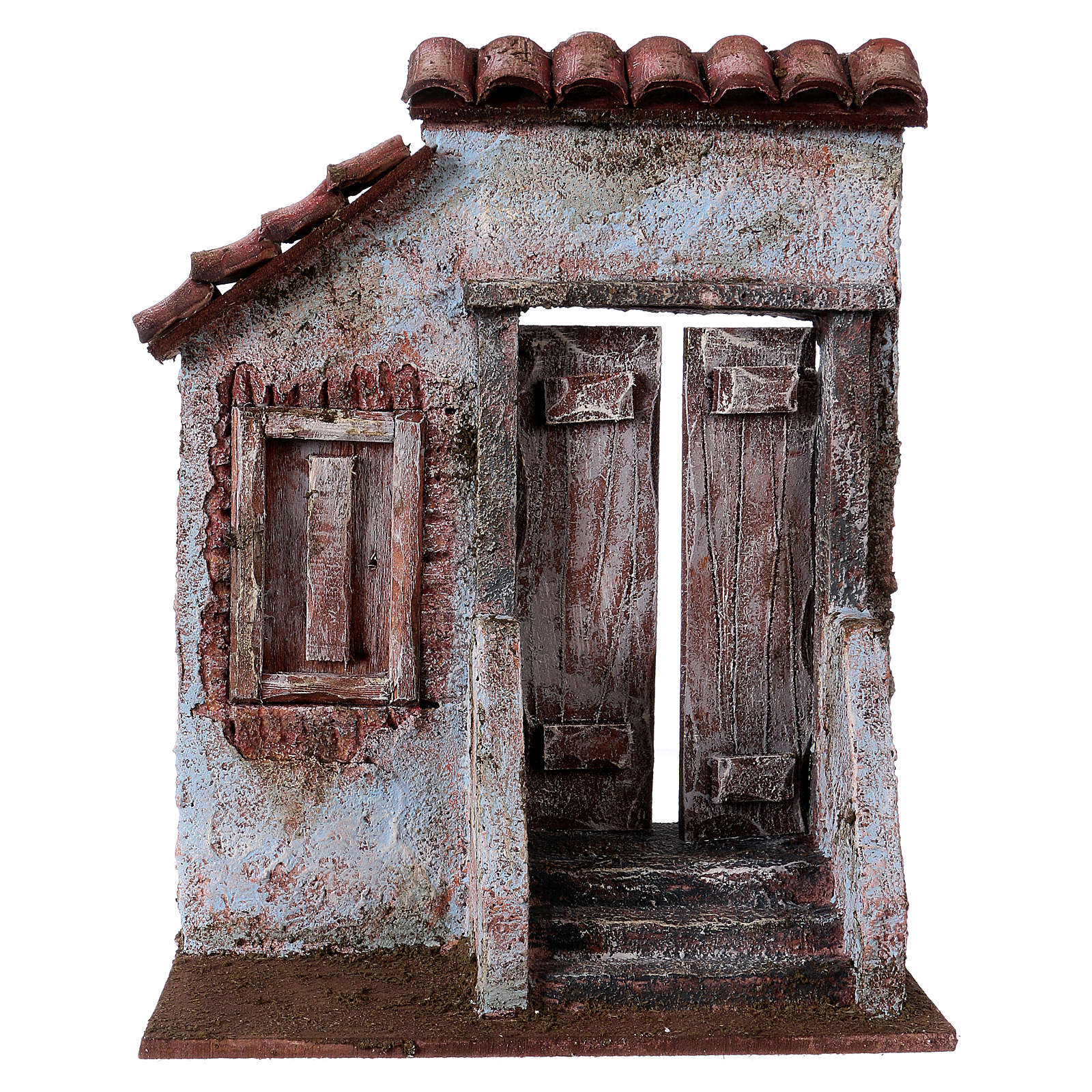 Façade avec escalier porte centrale pour santons de 12 cm 4