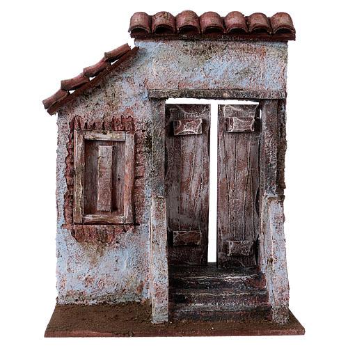 Façade avec escalier porte centrale pour santons de 12 cm 1