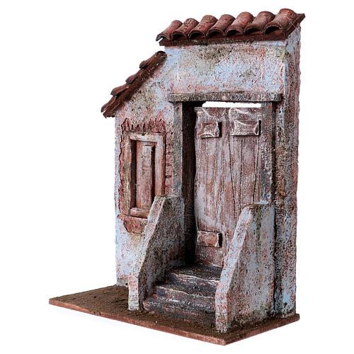 Façade avec escalier porte centrale pour santons de 12 cm 2