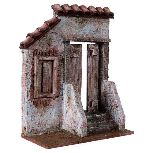 Facciata con scala porta centrale per statue da 12 cm 3