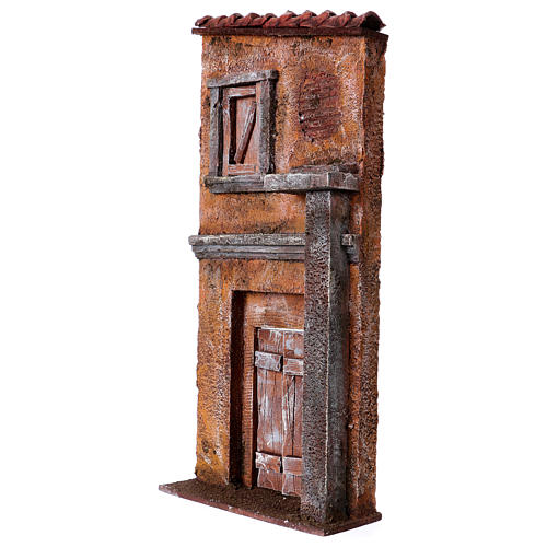 Nativity scene setting, house front with door and window 32x15x5 cm for 9 cm Nativity scene 2
