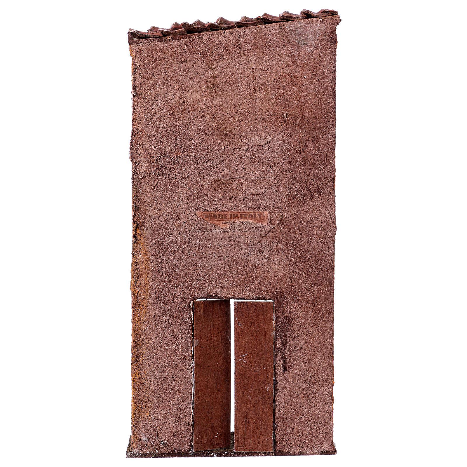 Fachada de casa com porta e janela cenário para presépio com figuras altura média 9 cm, medidas: 32x15x5 cm 4